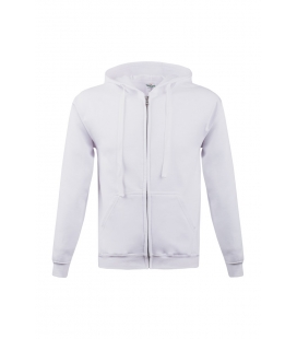 Sweat-shirt blanc à capuche zippé - 280g/m²